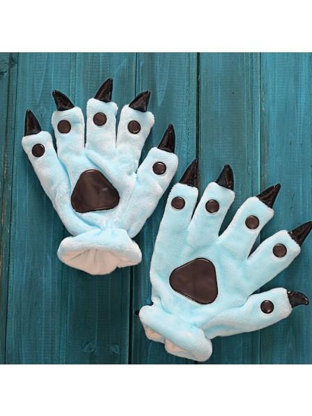 Himmelblau Onesies Tier Hände Paw Flanell Cartoon Handschuhe