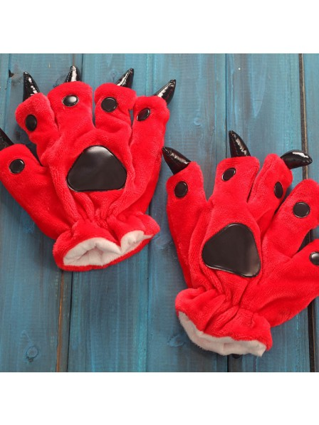 Rot Onesies Tier Hände Paw Flanell Cartoon Handschuhe