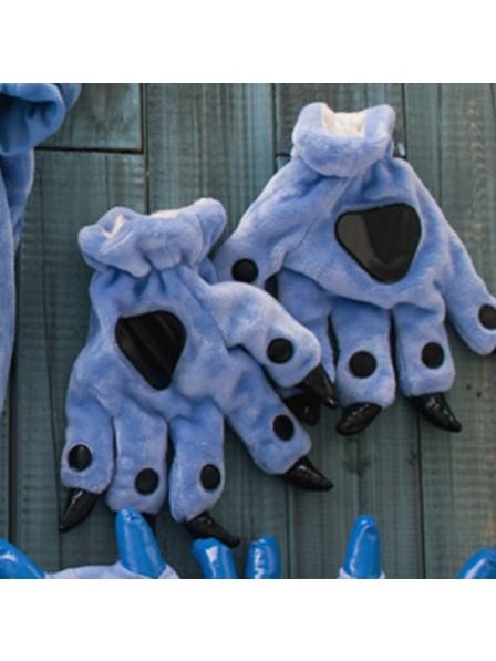 Dunkelblau Onesies Tier Hände Paw Flanell Cartoon Handschuhe