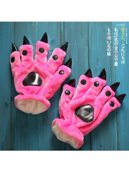 Fuchsia Unisex Onesies Tier Hände Paw Flanell Cartoon Handschuhe