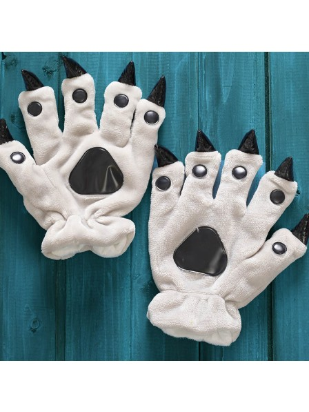 Grau Unisex Onesies Tier Hände Paw Flanell Cartoon Handschuhe