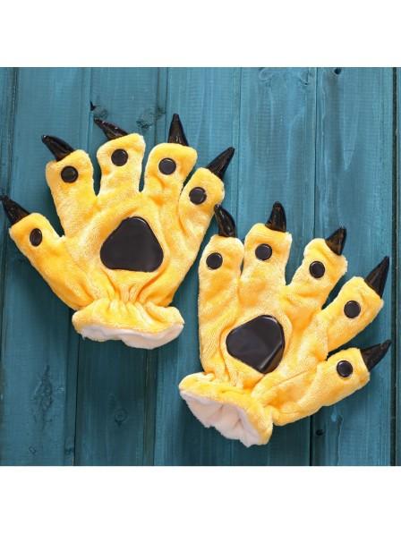 Gelb Onesies Tier Hände Paw Flanell Cartoon Handschuhe