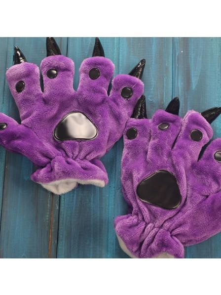 Violett Onesies Tier Hände Paw Flanell Cartoon Handschuhe