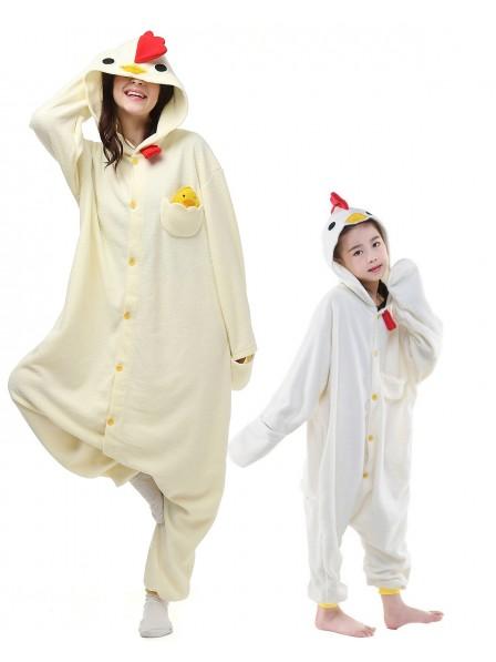 Weißer Hahn Kigurumi Onesie Pyjamas Tier Kostüme für Erwachsene und Kinder