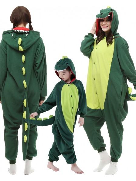 Grün Dinosaurierier Kigurumi Onesie Pyjamas Tier Kostüme für Erwachsene und Kinder