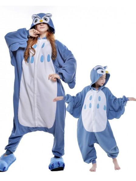 Blaue Eule Kigurumi Unisex Onesie Pyjamas Tier Kostüme für Erwachsene und Kinder