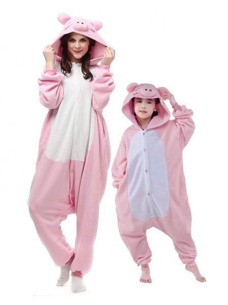 Pink Schwein Kigurumi Unisex Onesie Pyjamas Tier Kostüme für Erwachsene und Kinder