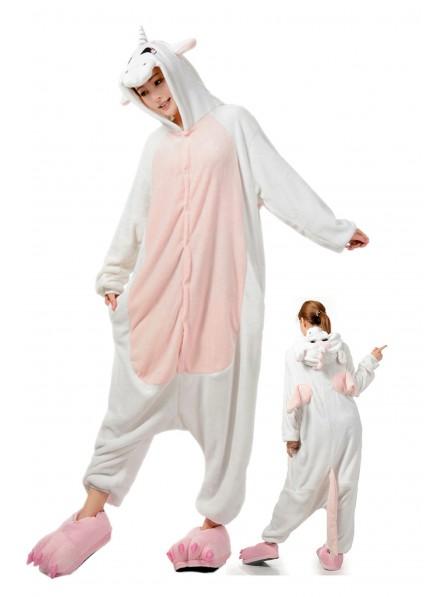 Weisses Einhorn Pyjama Onesies Weich Tier Kostüme Für Damen & Herren Schlafanzug Kostüm