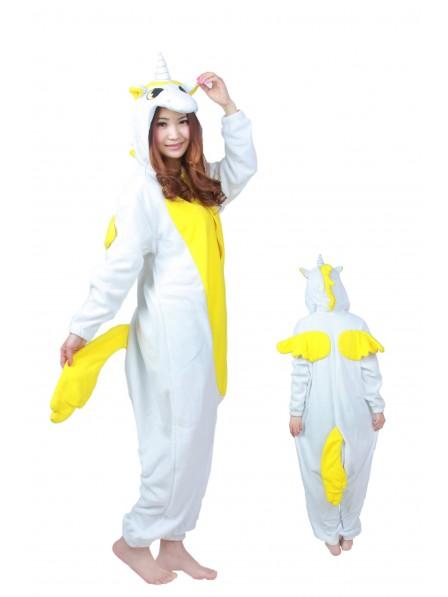 Gelbes Einhorn Pyjama Onesies Weich Tier Kostüme Für Damen & Herren Schlafanzug Kostüm