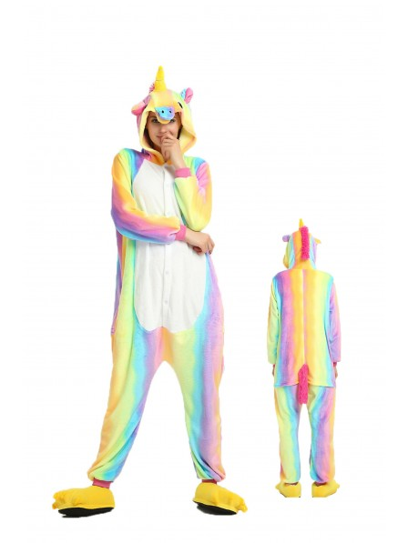 Regenbogen Einhorn Pyjama Onesies Weich Tier Kostüme Für Damen & Herren Schlafanzug Kostüm