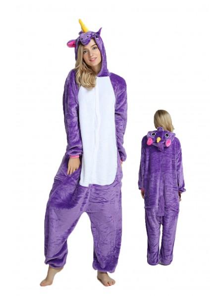 Violettes Einhorn Pyjama Onesies Weich Tier Kostüme Für Damen & Herren Schlafanzug Kostüm