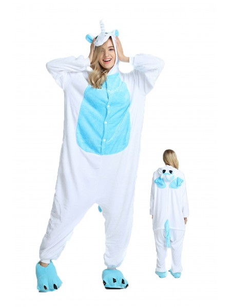 Blaues Einhorn mit Flügeln Pyjama Onesies Weich Tier Kostüme Für Damen & Herren Schlafanzug Kostüm
