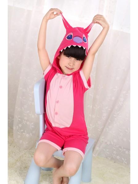 Pink Stitch Onesie Kids Kigurumi Sommer Kurze Ärmel Tier Kostüme Für Jugend