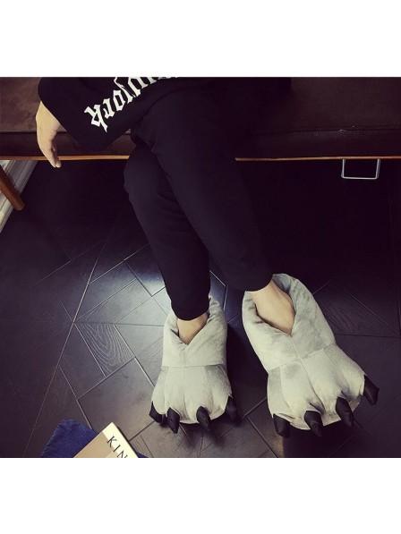 GrauPlüsch Pfote Kralle Hausschuhe Pantoffel Tier Kostüm Schuhe