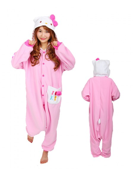 Hello Kitty Pink Pyjama Onesie Tier Schlafanzug Kostüm