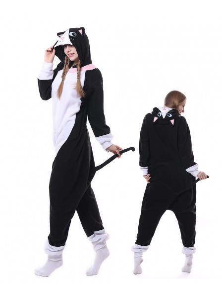 Schwarze Katze Pyjama Onesies Tier Schlafanzug Kostüm