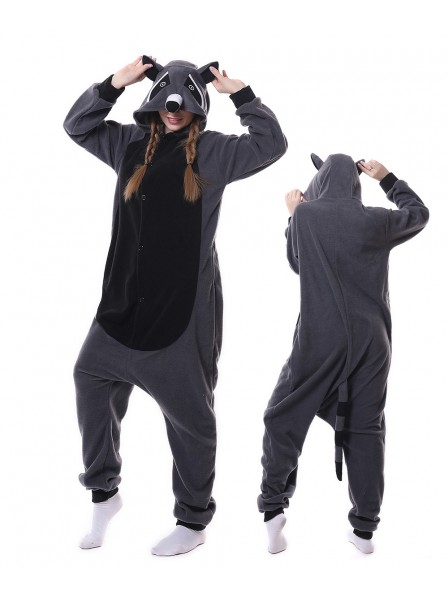 Grauer Panda Waschbär Pyjama Onesies Tier Schlafanzug Kostüm