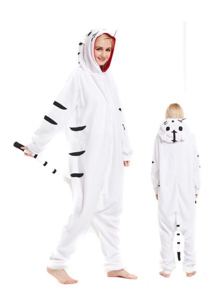 Weisser Tiger Pyjama Onesies Tier Schlafanzug Kostüm