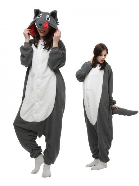 Grauer Wolf Pyjama Onesies Tier Kostüme Für Erwachsene Schlafanzug Kostüm