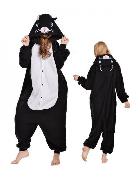 Schwarze Katze Pyjama Onesies Tier Kostüme Für Erwachsene Schlafanzug Kostüm